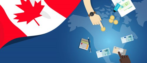 Canada economy fiscal money trade concept illustration of financial banking budget with flag map and currency vector