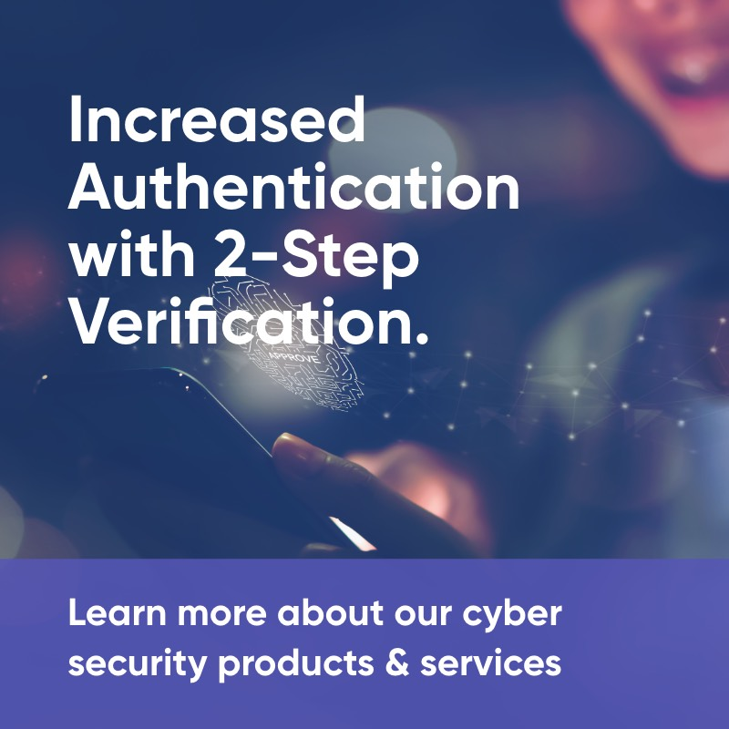 Learn more about our cyber security products and services including Increased Authentication with 2-Step Verification